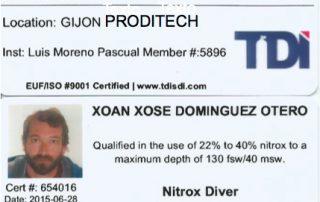 TITULACIONES DEL CURSO DE NITROX BÁSICO Y DEL CURSO DE NITROX AVANZADO T.D.I.