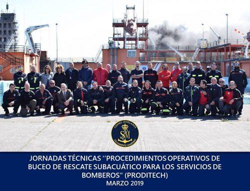 » Buceo de rescate  para los servicios de bomberos» en colaboración con el Centro Jovellanos, Salvamento Marítimo Español