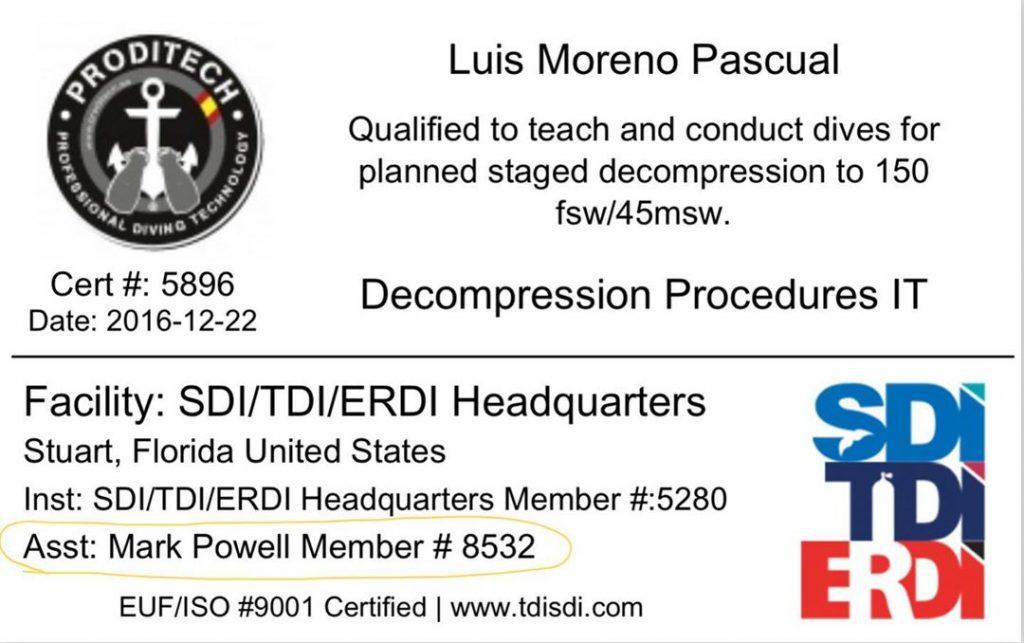 Instructor Trainer Procedimientos Descompresivos.