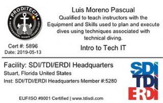 Instructor Trainer Intro To Tech. Introducción al buceo técnico , cursos a nivel de buceador o de Instructor.