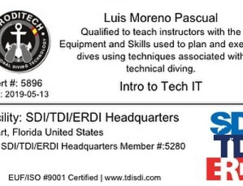 Otro nivel más de Instructor Trainer. Instructor Trainer Intro To Tech. Introducción al buceo técnico , cursos a nivel de buceador o de Instructor.