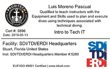 Instructor Trainer Intro To Tech. Introducción al buceo técnico , cursos a nivel de buceador o de Instructor.
