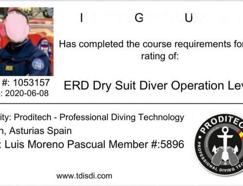 Titulación internacional de ERDI (Emergency Response Diving International)